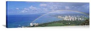 Honolulu, Hawaii Rainbow Over Waikiki Beach Panorama Picture