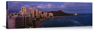 Honolulu, Hawaii Waikiki Beach Sunset Panorama Picture