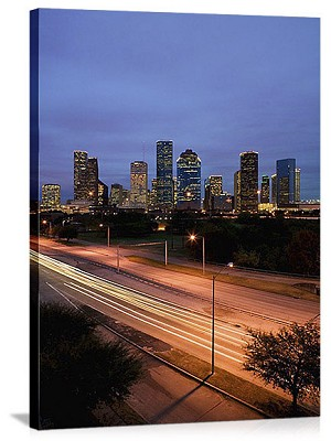 Houston, Texas Twilight Traffic Panorama Picture