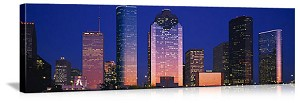 Houston, Texas Skyscrapers at Night Panorama Picture