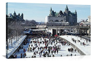 Ottawa, Canada Skaters on Rideau Canal Panorama Picture