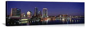 Jacksonville, Florida Night Skyline Panorama Picture