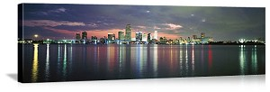 Miami, Florida Dusk Over Biscayne Bay Panorama Picture