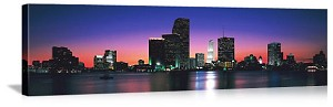 Miami, Florida Evening Over Biscayne Bay Panorama Picture