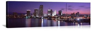 Miami, Florida Evening Skyline Panorama Picture