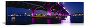 Miami, Florida MacArthur Causeway Bridge Panorama Picture