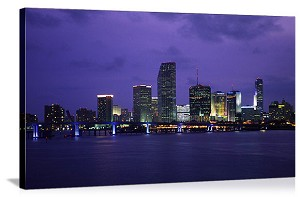 Miami, Florida Waterfront Skyline Panorama Picture