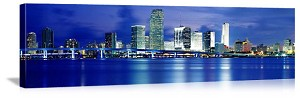 Miami, Florida Night Skyline Panorama Picture