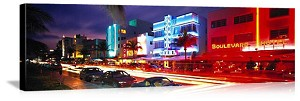Miami, Florida Traffic on Ocean Drive Panorama Picture