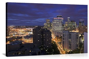 Minneapolis, Minnesota City at Night Panorama Picture
