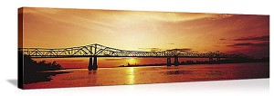 Natchez, Mississippi Sunset Skyline Panorama Picture