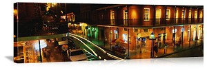 New Orleans, Louisiana Bourbon Street at Night Panorama Picture