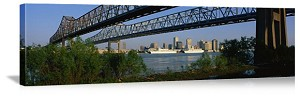 New Orleans, Louisiana Bridges Over Mississippi River Panorama Picture