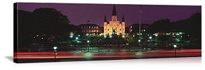 New Orleans, Louisiana Cathedral Lights Panorama Picture