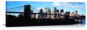 New York, New York Brooklyn Bridge Silhouette Panorama Picture