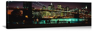 New York, New York Brooklyn Bridge Night Skyline Panorama Picture