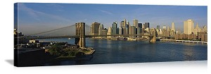 New York, New York Brooklyn Bridge River View Panorama Picture