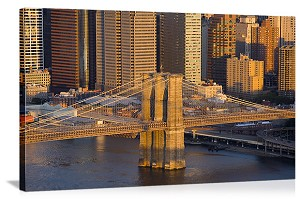 New York, New York Brooklyn Bridge Aerial View Panorama Picture