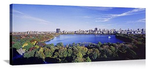New York, New York Central Park Lake Panorama Picture