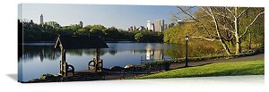 New York, New York Central Park Lake Reflection Panorama Picture
