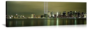 New York, New York Light Beams Over Manhattan Panorama Picture