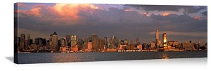 New York, New York Hudson River Sunrise Panorama Picture