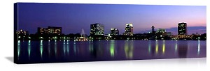 Orlando, Florida Lake Eola Evening Skyline Panorama Picture