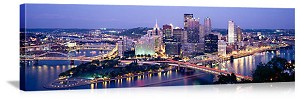 Pittsburgh, Pennsylvania Twilight Skyline Panorama Picture