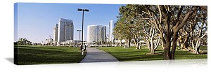 San Diego, California Walkway in Marina Park Panorama Picture
