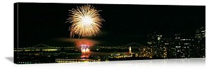 San Francisco, California Fireworks Over the Bay Panorama Picture