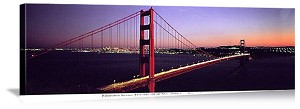 San Francisco, California Golden Gate Twilight Panorama Picture