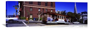 San Francisco, California Cable Car in Motion Panorama Picture