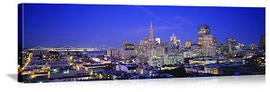 San Francisco, California Bay City Twilight Skyline Panorama Picture