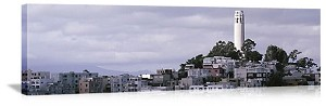 San Francisco, California Coit Tower on Telegraph Hill Panorama Picture