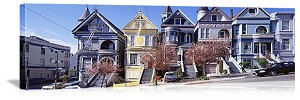 San Francisco, California Victorian Row Houses Panorama Picture