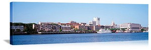 Savannah, Georgia Savannah River Skyline Panorama Picture