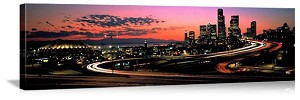 Seattle, Washington Sunset City Skyline Panorama Picture
