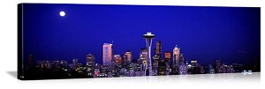 Seattle, Washington Moonrise Over Seattle Panorama Picture