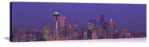 Seattle, Washington Space Needle Twilight Skyline Panorama Picture