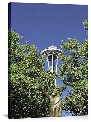 Seattle, Washington Chief Seattle Sculpture Panorama Picture
