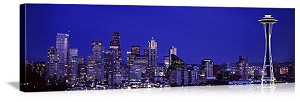 Seattle, Washington Twilight City Skyline Panorama Picture