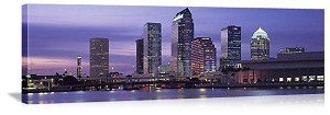 Tampa Bay, Florida Evening Skyline Panorama Picture