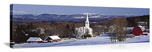 Peacham, Vermont Village in Winter Panorama Picture