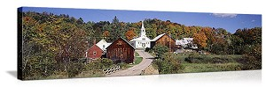 Waits River, Vermont Village in Autumn Panorama Picture