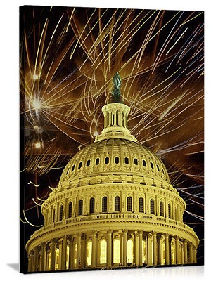 Washington, DC Capitol Building Fireworks Panorama Picture