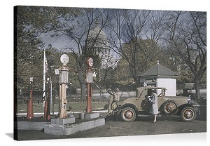 Washington, DC 1920's Capitol Gas Station Panorama Picture