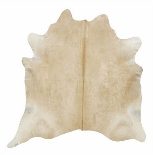 Natural Solid Beige Cowhide Rug
