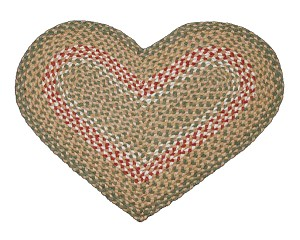 Heart Shaped Green and Burgundy Jute Braided Earth Rug®