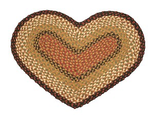 Heart Shaped Burgundy and Mustard Jute Braided Earth Rug®