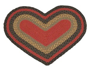 Heart Shaped Burgundy Olive and Charcoal Jute Braided Earth Rug®